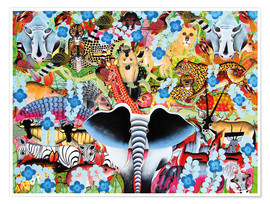 Premium poster Colorful collage of Africa