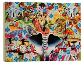Wood print  Colorful collage of Africa - Zuberi
