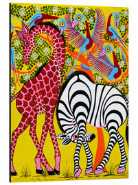 Aluminium print  Zebra with Giraffe in the bush - Omary