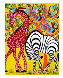 Premium poster Zebra with Giraffe in the bush
