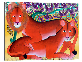 Aluminium print  Lion lioness protecting - Omary