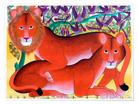 Premium poster Lion lioness protecting