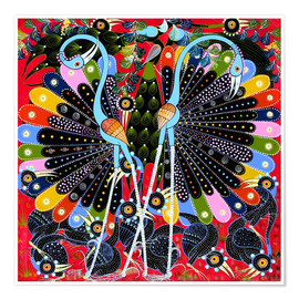 Premium poster  Peacock in courtship - Stephan