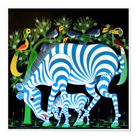 Premium poster Blue Zebras at night