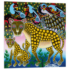 Foam board print  Cheetah with peacock - Mzuguno