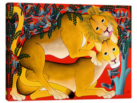 Canvas print  Mating with lions - Omary