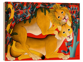 Wood print  Mating with lions - Omary