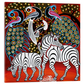 Acrylic glass  Zebras with peacock - Mzuguno