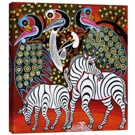 Canvas  Zebras with peacock - Mzuguno