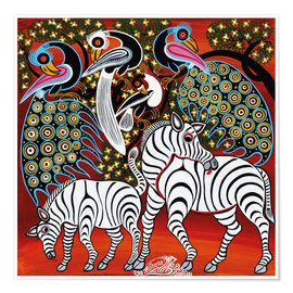 Poster  Zebras with peacock - Mzuguno
