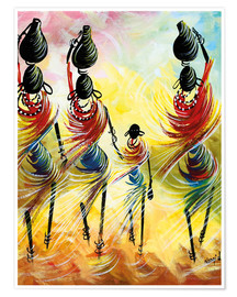 Poster  African women fetching water - Nangida