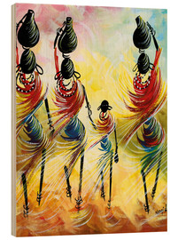 Wood print  African women fetching water - Nangida