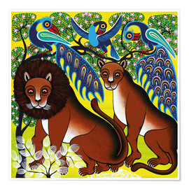 Premium poster Lion with peacock