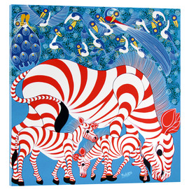 Acrylic glass  Zebras in red - Mustapha
