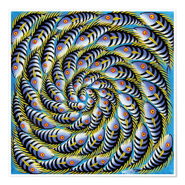 Premium poster  Purple color lighter fish swirl - Mrope
