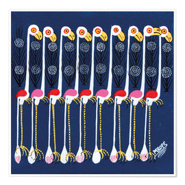 Premium poster  White Flamingos at night - Mrope