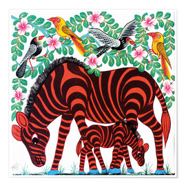 Premium poster  Red Zebras - Mrope