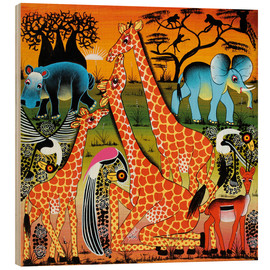 Wood print  Family happiness in the savannah - Mrope