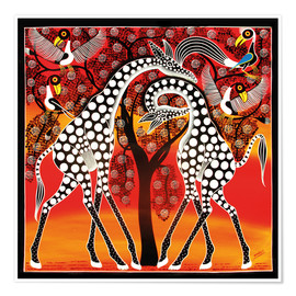 Poster  Giraffes cuddle under a tree - Mangula