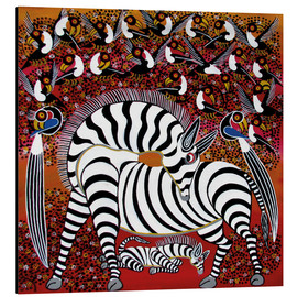 Aluminium print  Zebra with a large flock of birds - Hassani