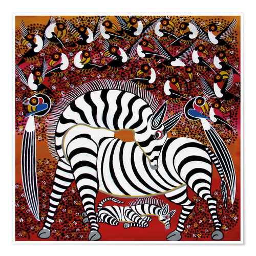 Premium poster Zebra with a large flock of birds