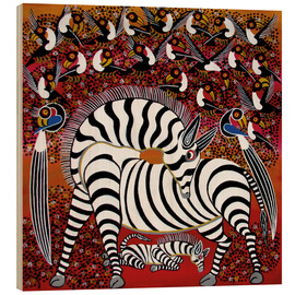 Wood print  Zebra with a large flock of birds - Hassani