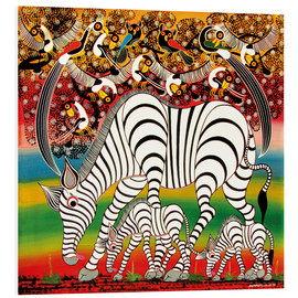 Foam board print  Zebra herd flock of birds - Chiwaya