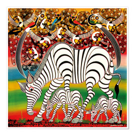 Premium poster  Zebra herd flock of birds - Chiwaya