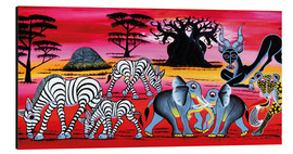 Aluminium print  Animals in the evening in the savannah - Chiwaya