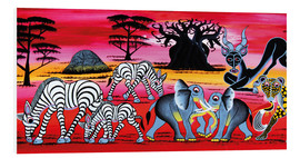 Foam board print  Animals in the evening in the savannah - Chiwaya