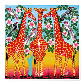 Premium poster The giraffes meeting