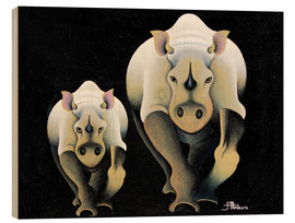 Wood print  Rhino Mother and Child - Mkura