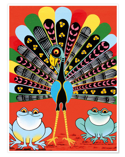 Premium poster Colorful Peacock with frogs