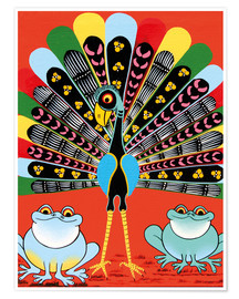 Premium poster  Colorful Peacock with frogs - Maulana