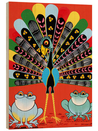 Wood print  Colorful Peacock with frogs - Maulana