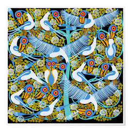 Premium poster  Colorful flock of birds in the tree crown - Mangula