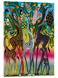 Acrylic print  Giraffes in African colors - Maulana