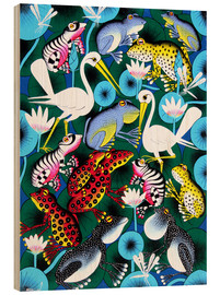 Wood print  Frogs and cranes - Abdallah
