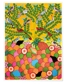 Poster  Fruits and birds - Majidu