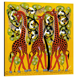 Aluminium print  Giraffe Trio and flock of birds - Chiwaya