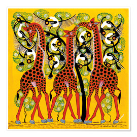Premium poster  Giraffe Trio and flock of birds - Chiwaya