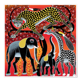 Premium poster  Animals on the big night tree - Hassani