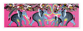 Premium poster Elephant Herd with flock of birds