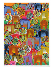 Premium poster Colorful hippo herd