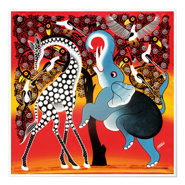 Premium poster Elephant dancing with Giraffe