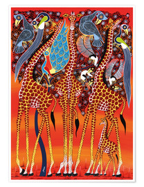 Poster  Giraffe with peacock - Maulana