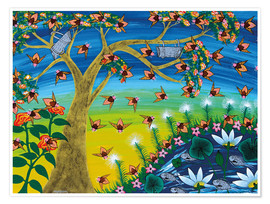 Premium poster  Bees on a tree - Majidu