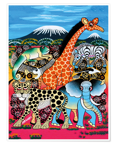Premium poster Animal Meet in front of Kilimanjaro