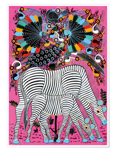 Premium poster Zebra couple with magnificent flock of birds