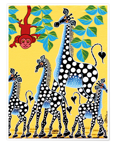 Premium poster Funny monkey with giraffes